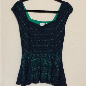 Gorgeous navy and green peplum top